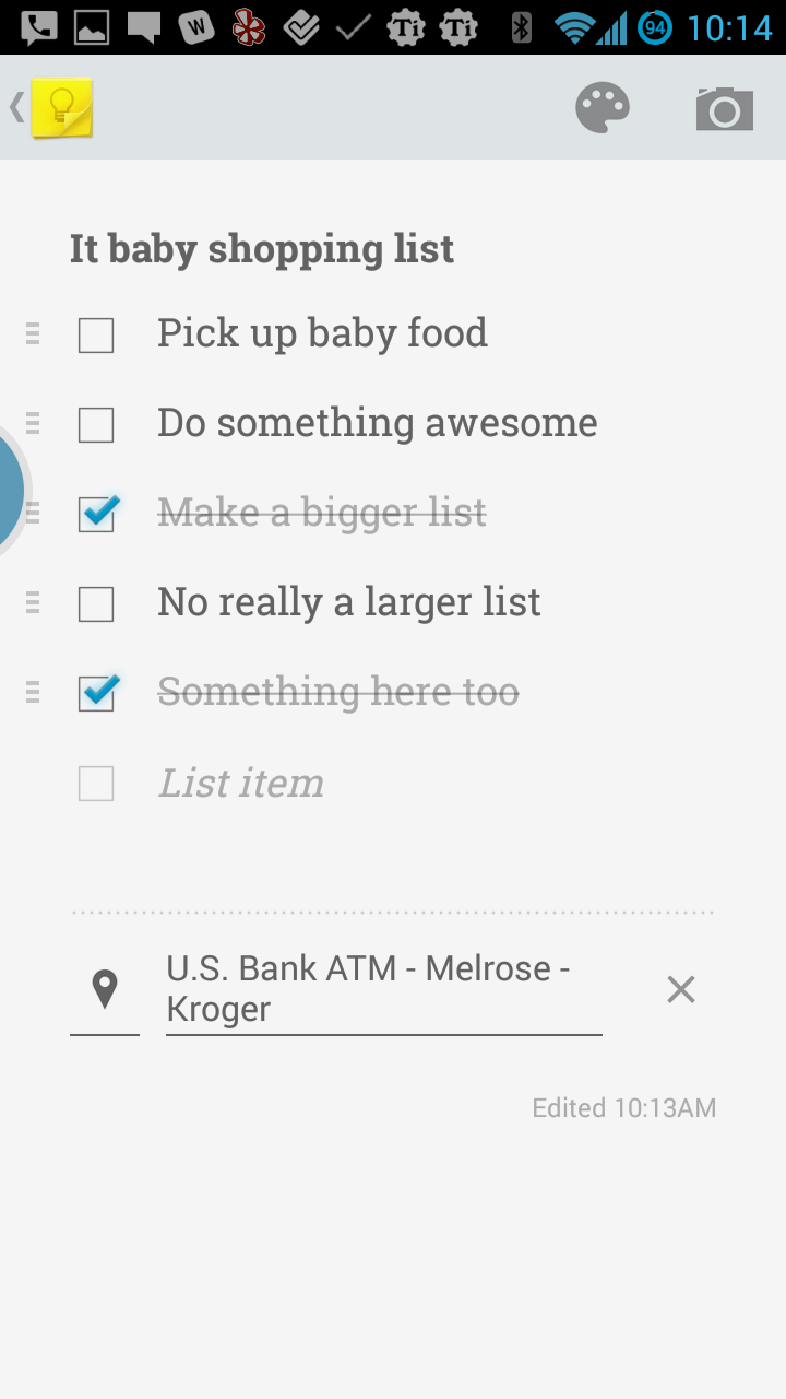 Google Keep checkbox view
