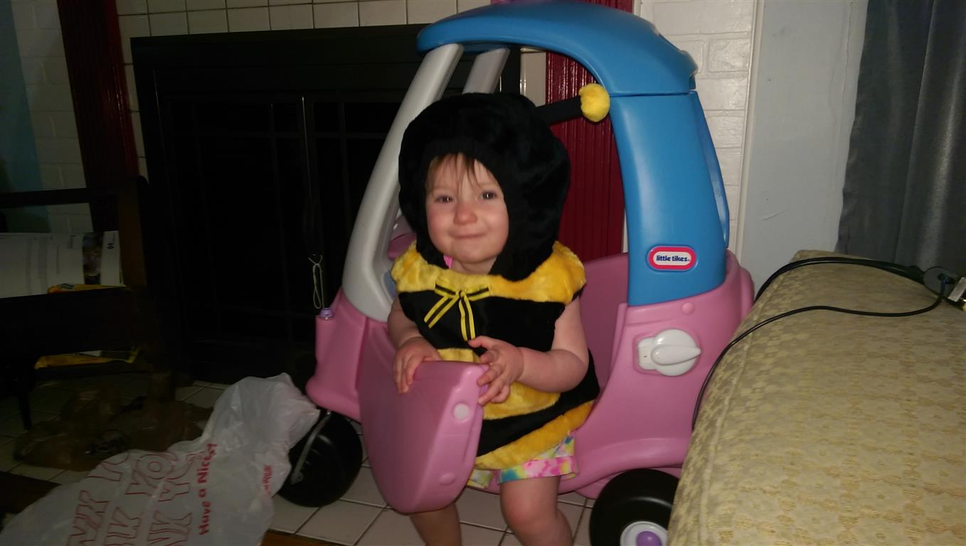 Maggie in a bee outfit