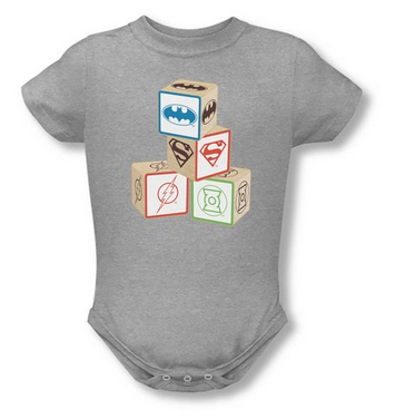 JLA blocks onesie on Amazon