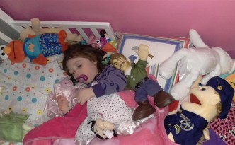Not even all the toys could wake her