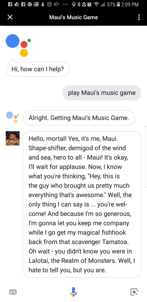 Google Assistant playing Maui's Music Game