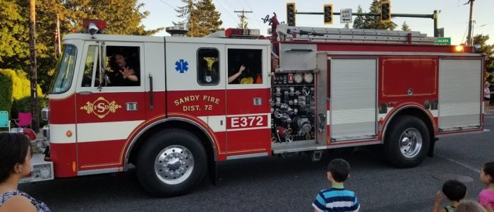 Fire engine in Sandy Oregon